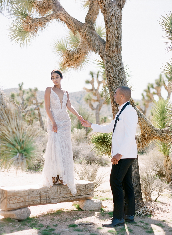 Joshua Tree white tux elopement