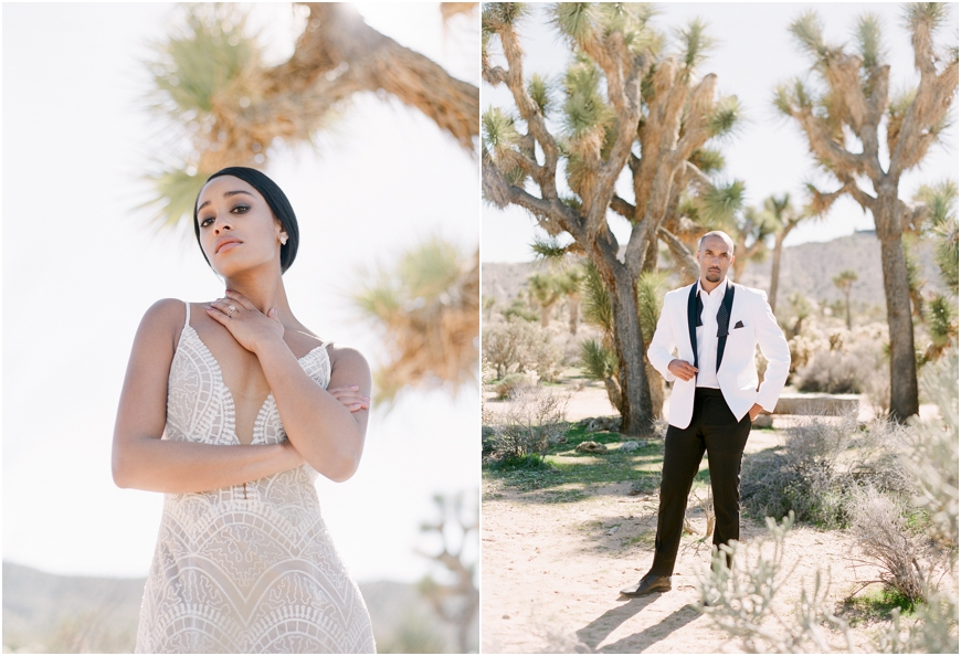 White tux joshua tree elopement
