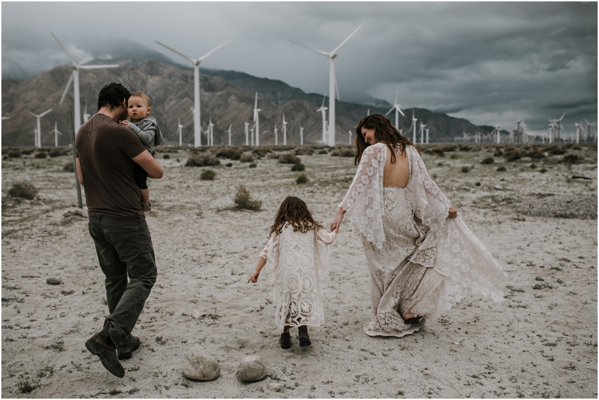 Stormy Family Session at the Palm Springs Wind Farm
