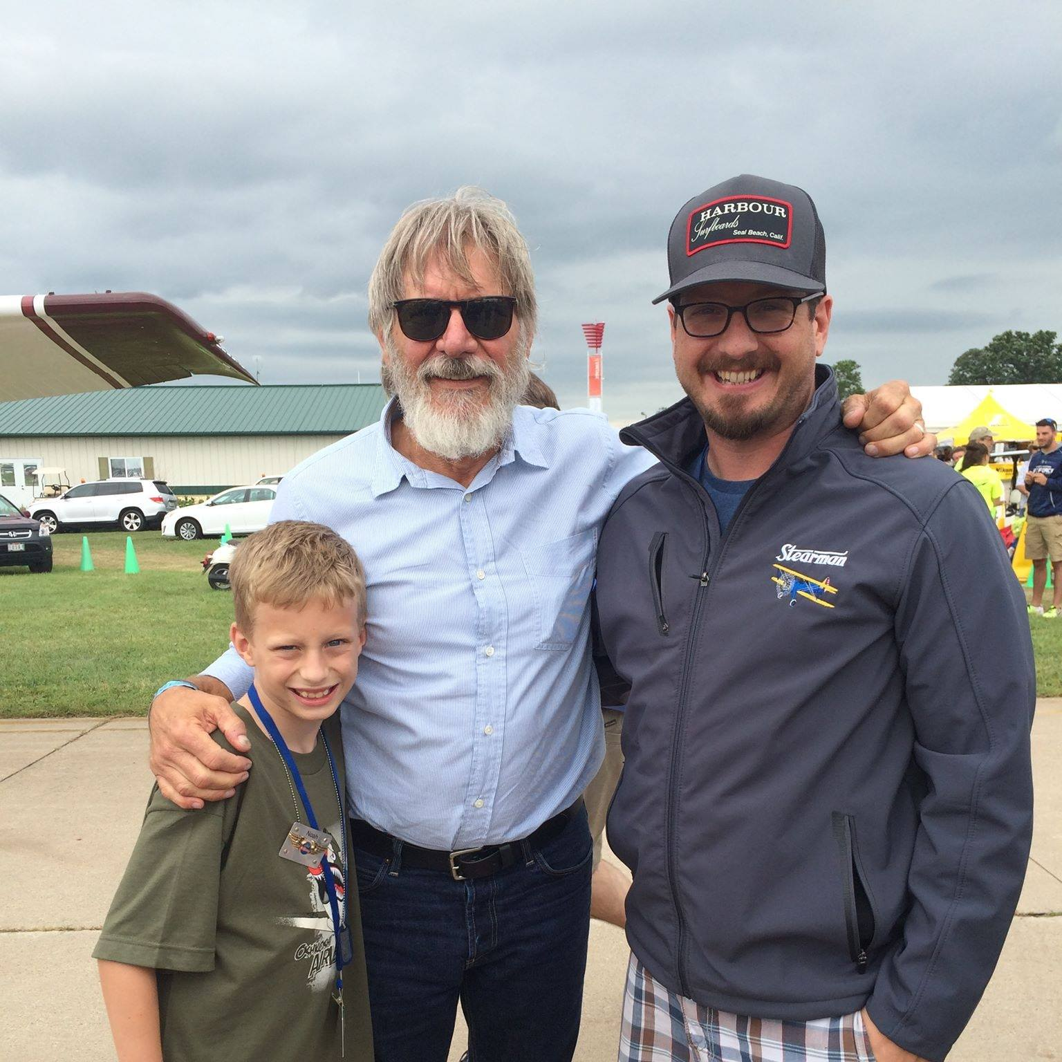 Harrison Ford, yes that one, me, and my oldest son, Noah. That's how we roll.