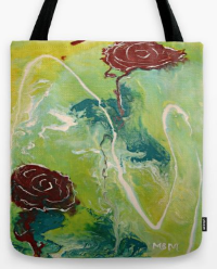 Two Wandering Roses tote bag by Mary Mirabal
