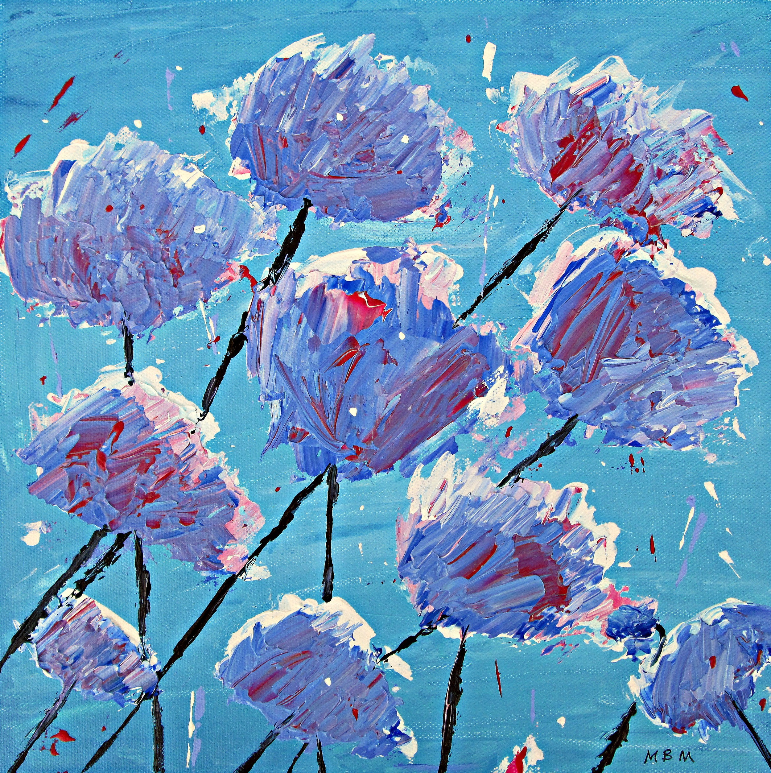 "Blue Poppies                  8"" x 8"" total dimensions           Ready for framing"