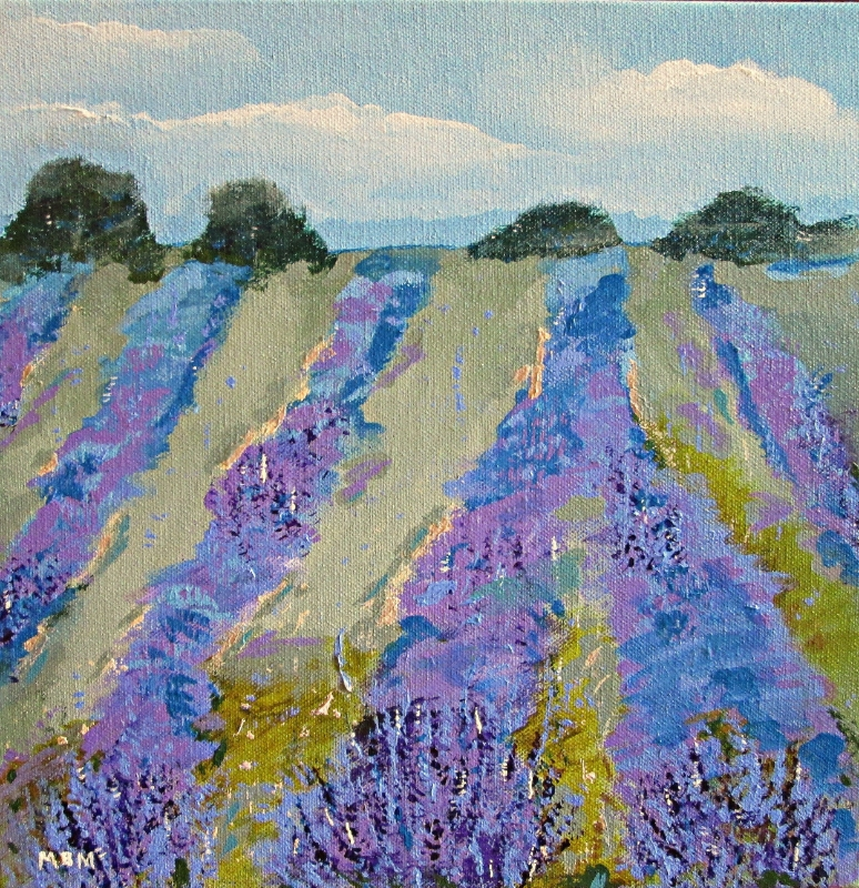 "Fields of Lavender, 12"" x 12"" acrylic on gallery wrapped canvas"