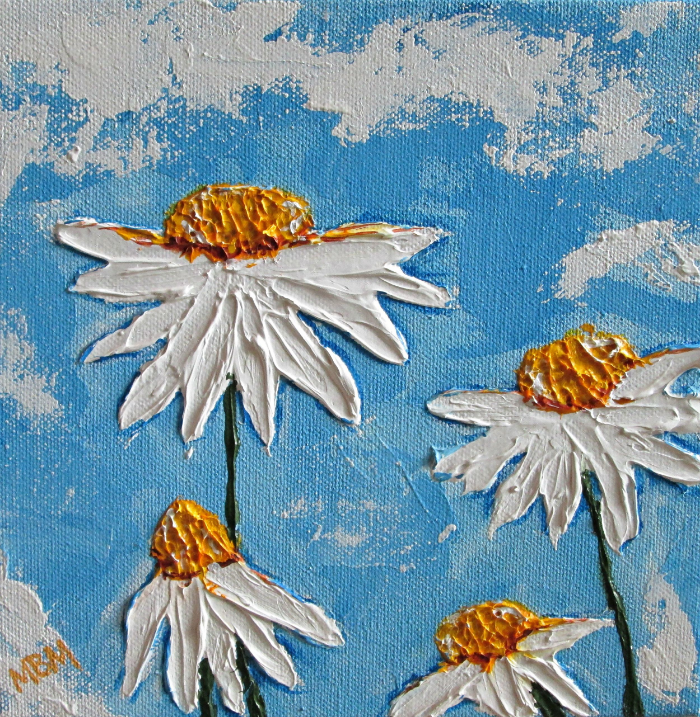 """Four Daisies""   8"" x 8"" acrylic impasto on gallery wrapped canvans"