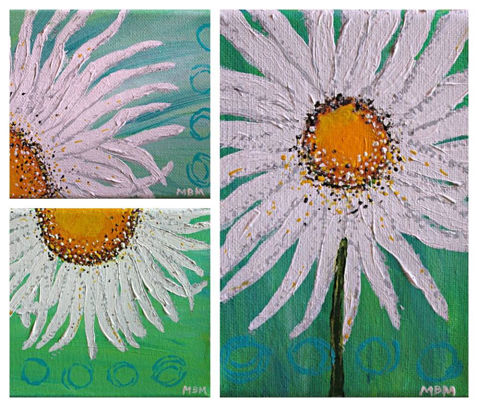Daisies triptych on gallery wrapped canvas