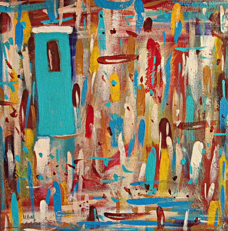 "Turquoise Door, 12"" x 12"" on gallery wrapped canvas"