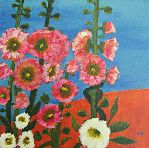 "Hollyhocks and Blue Sky, 12"" x 12"" acrylic on gallery wrapped canvas"