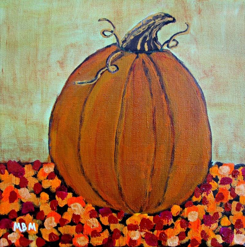 "Autumn Pumpkin, 10"" x 10"" acrylic on gallery wrapped canvas"