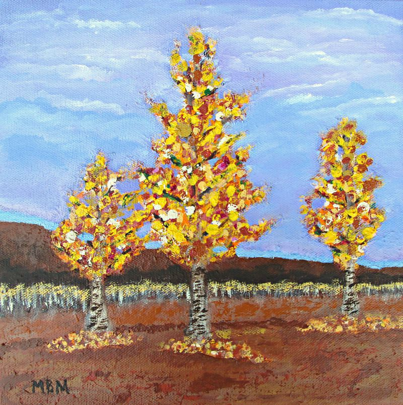 """Autumn Aspens""  10"" x 10"" acrylic on gallery wrapped canvas"