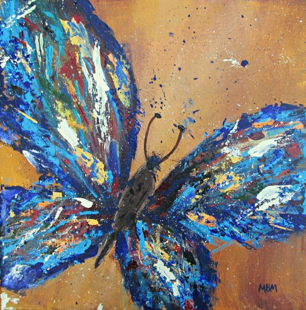"""Butterfly Blue, 12"""" x 12"""" acrylic on gallery wrapped canvas"""
