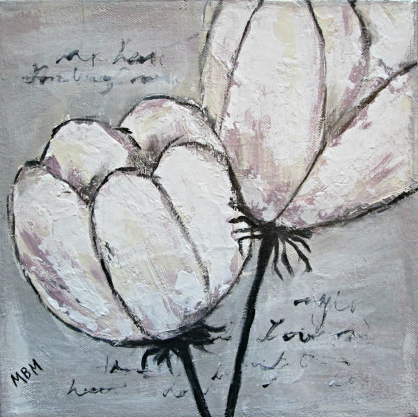 Tulipe, chalk paint on gallery wrapped canvas