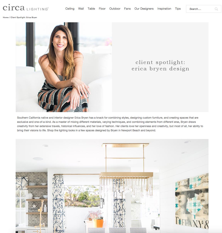 Client Spotlight: Erica Bryen Design - Circa Lighting, May 2019