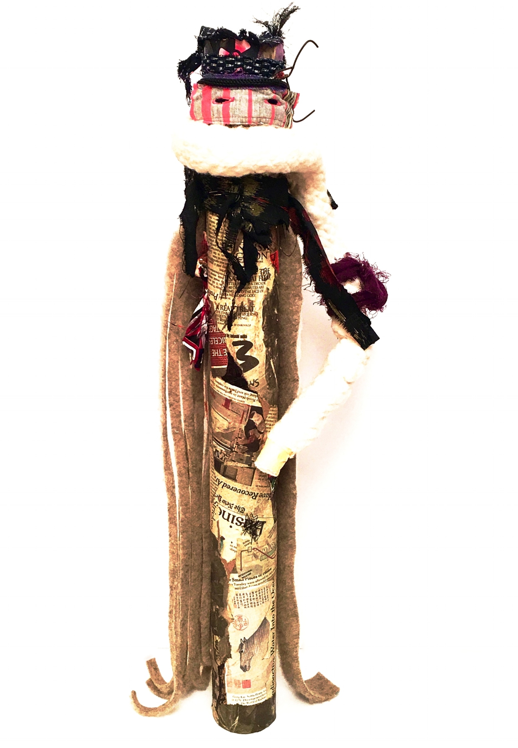 "Long Arm   Cotton, newspaper, felt, recycled textiles, buttonholes, paper, Japanese textiles, marker, paint, acrylic gel, and rust on industrial cardboard tube  27 x 9"" round  2016"