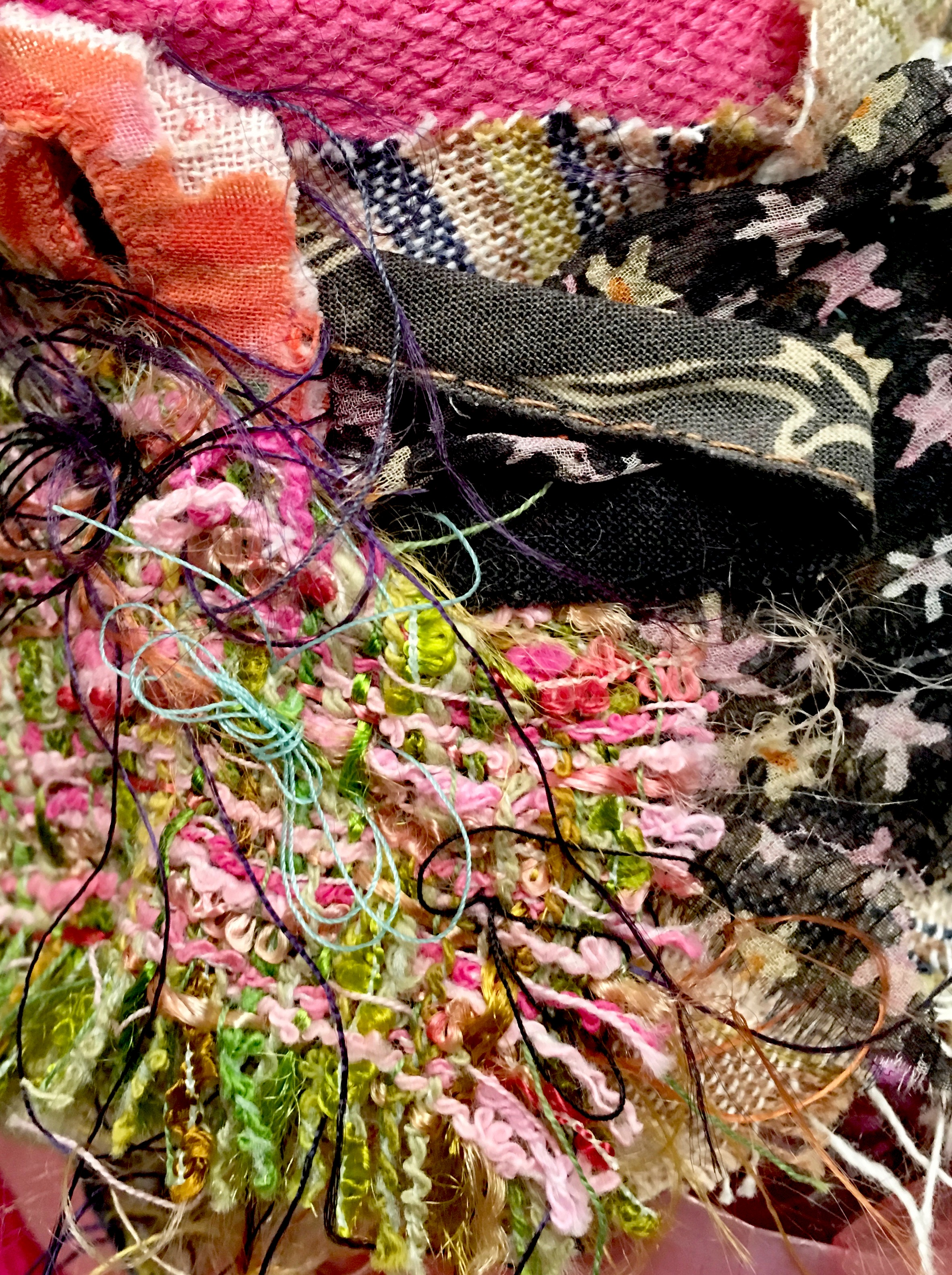"Pink (Detail)   Japanese cellophane, textile, thread, and brillo on plastic bottle with stones that rattle. Metal base with beads and cellophane  13 x 13"" round  2015-2019"