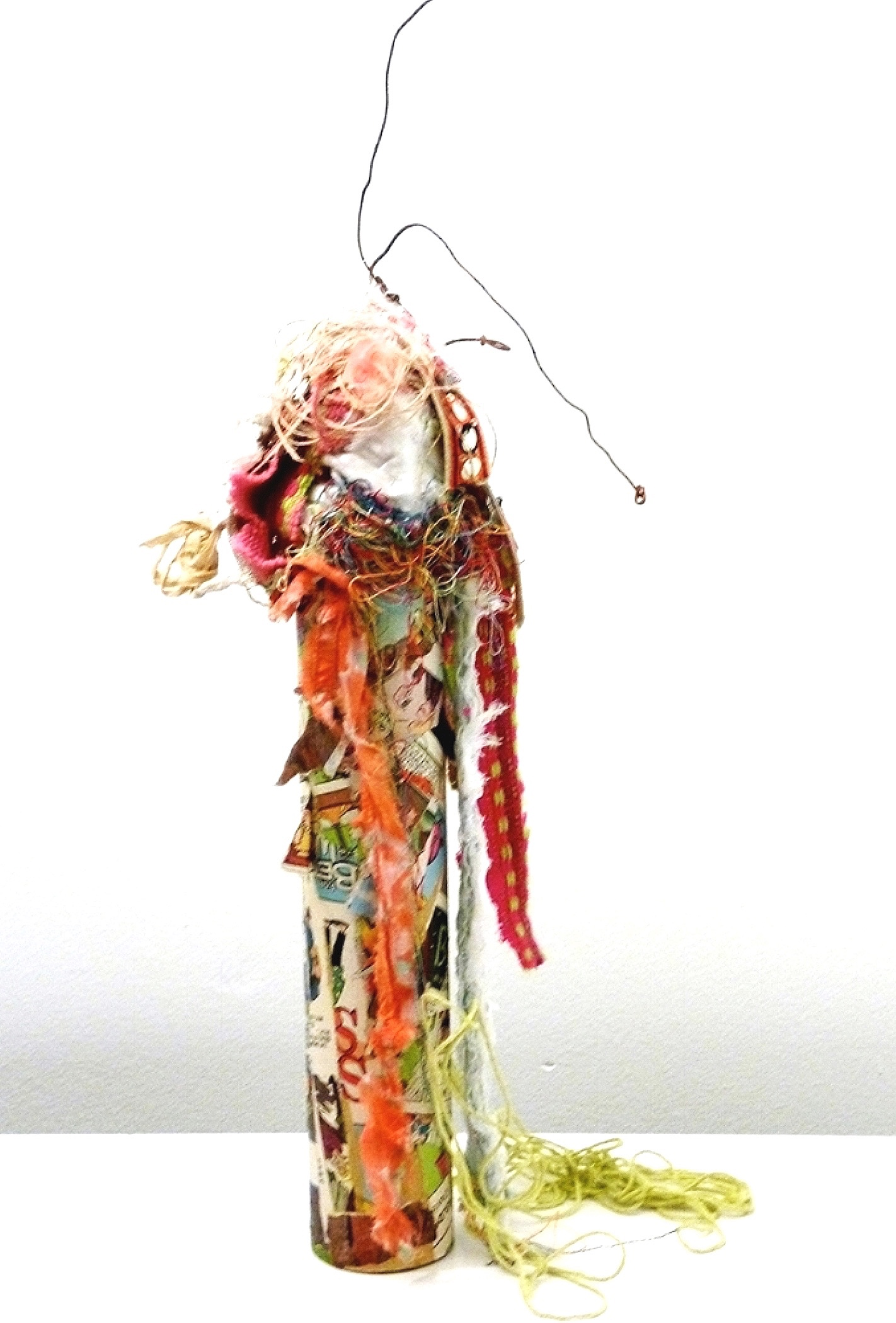 "Oracle   Rust, textile, comics, paint, acrylic gel,  thread, mirror, and colored twine on industrial cardboard tube with found tree-slice base  22 x 10"" round  2015"