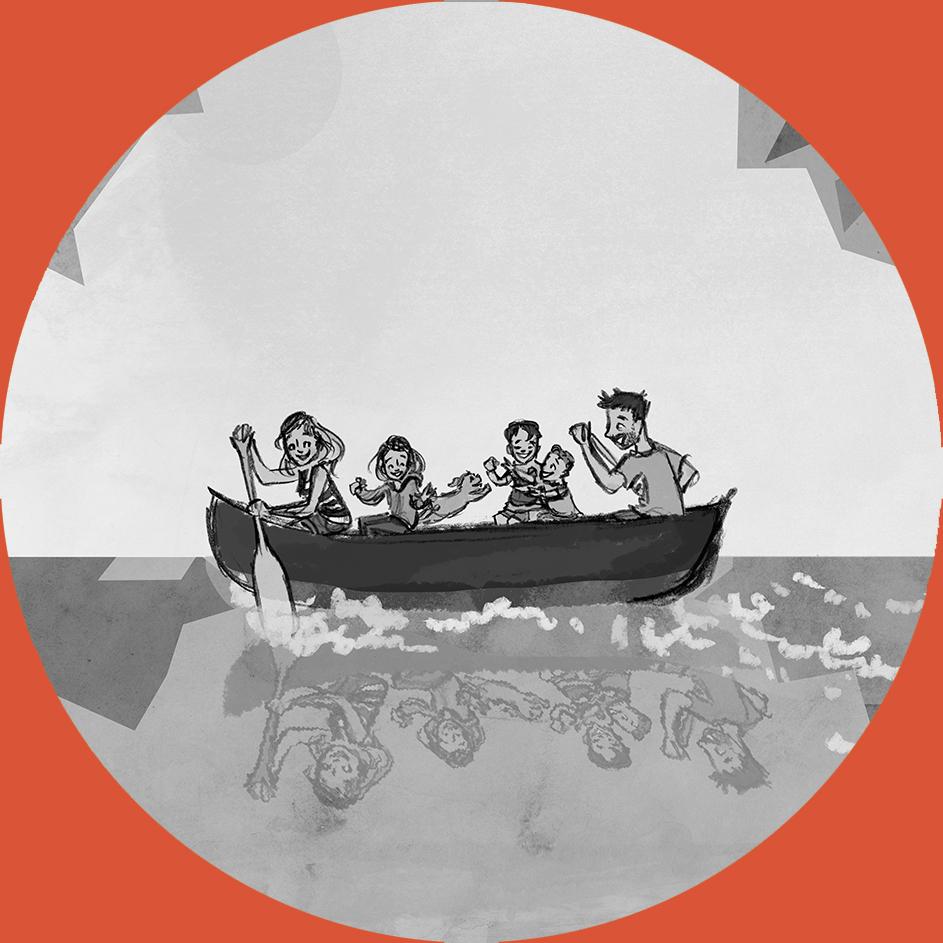 red canoe family portrait