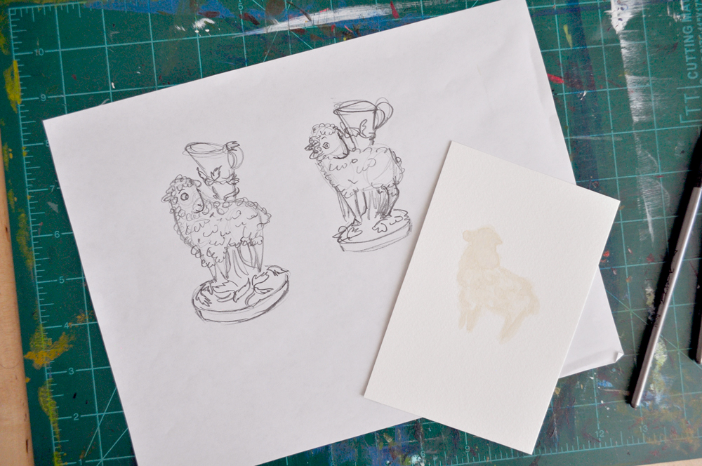 """I'm started on the sheep, too! Here's the watercolor texture, ready for scanning. For the sketch, I tried doing the """"normal"""" Staffordshire pottery-type eyes (the sheep on the left), but it just felt (and looked) weird. So back to my usual mostly-human-like animal eyes."""