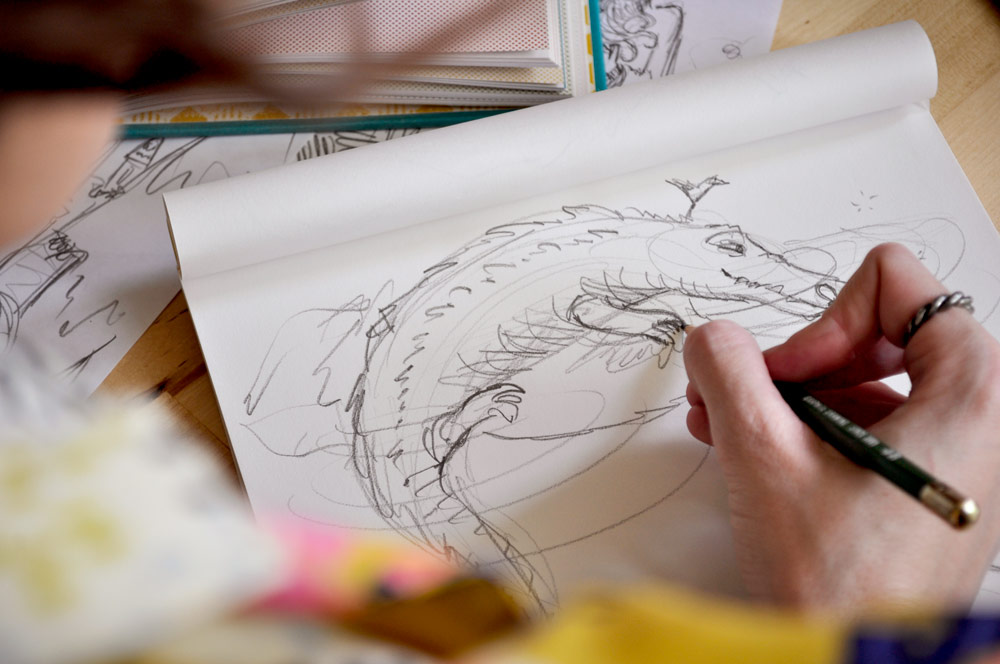 Close up of drawing the crocodile from Peter Pan