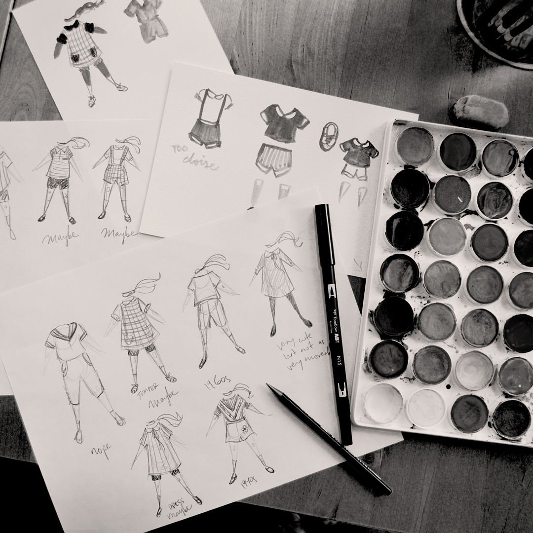 Spent much of Monday testing out various outfits and accessories for the main character, along with re-reading the text and brainstorming possible ways I can add even more depth to the story with the illustrations. ⠀