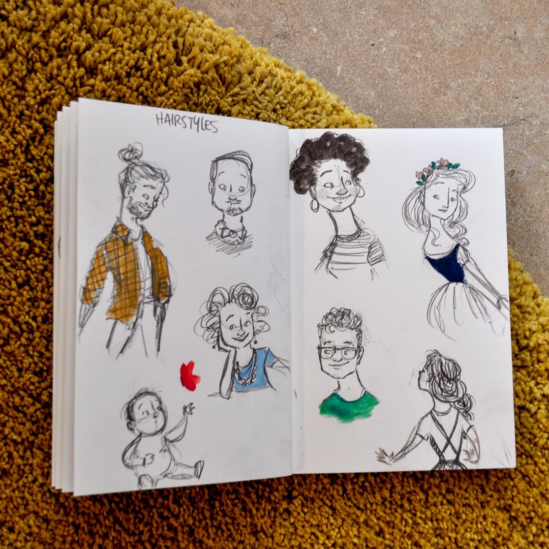 Sketchbook prompt: hairstyles