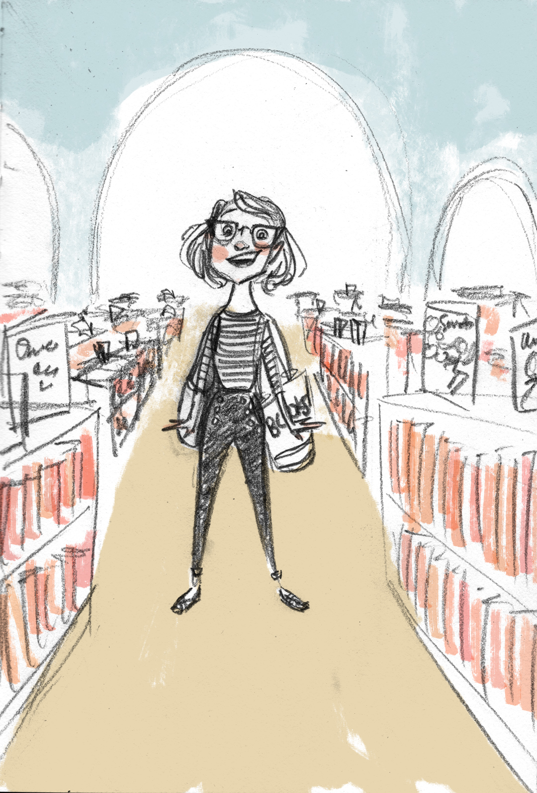 Sketchbook prompt: overwhelm. This is me, manically, euphorically overwhelmed by shelves and shelves full of picture books. It happens, people.⠀