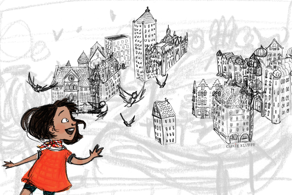 Originally I was going to do Eleanor standing at her window, enjoying the view for the part of the text that explains her dilemma of wanting a pet but living in a tiny 27th floor apartment. Here's a rough version I started after doing pages of thumbnails. At this point I'd already put hours of work into it, but it just didn't feel right, so I moved on.