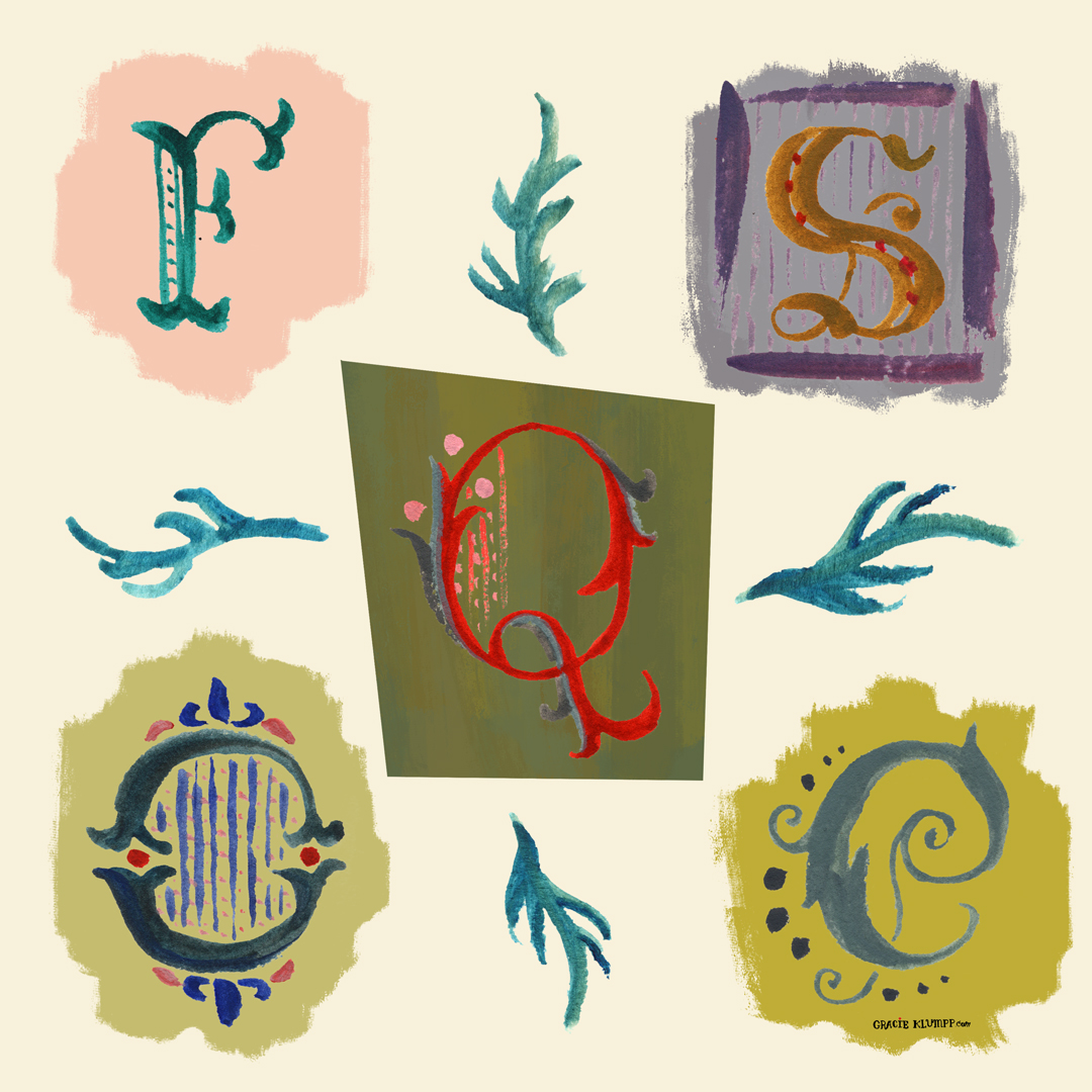 """The prompt for Monday was """"any three letters from an Old English Alphabet."""" I basically just pretended I was an illustrator for those awesome classic Disney fairy tale opening sequences. Hashbrown dream job."""