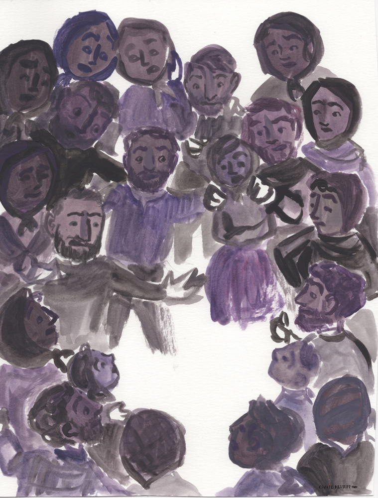 The crowd, in gouache.