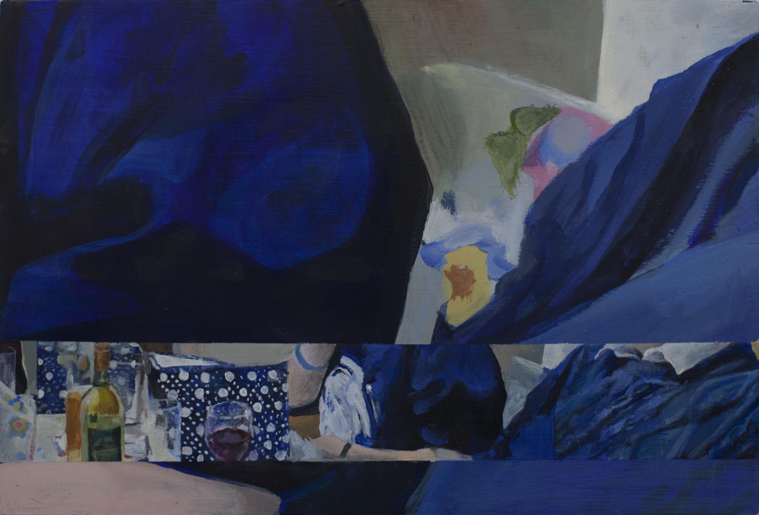 Blue 2015 Acrylic on board. 20.2 x 30cm