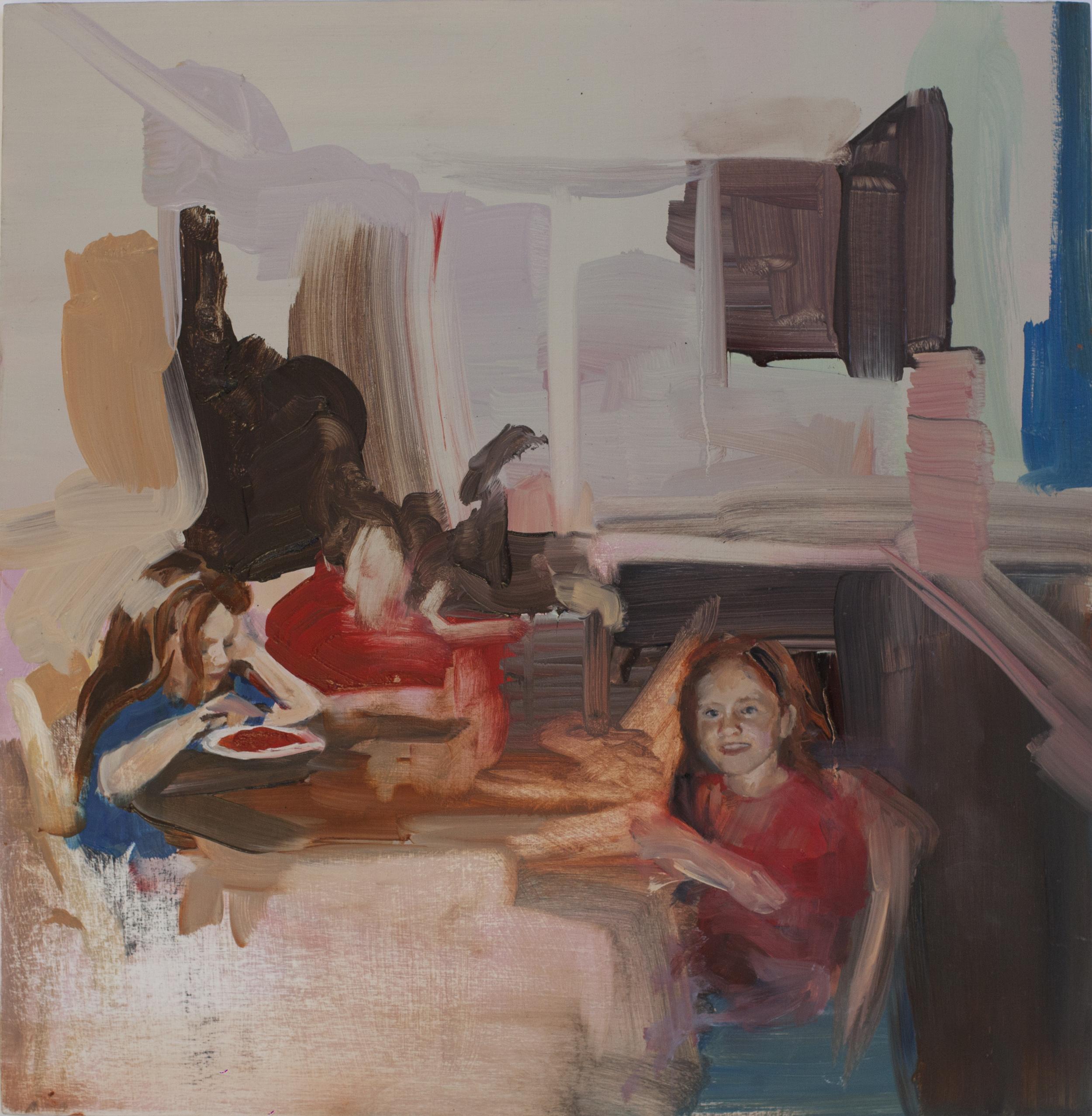 Dinner (2015) Oil on board. 40.5 x 40 cm