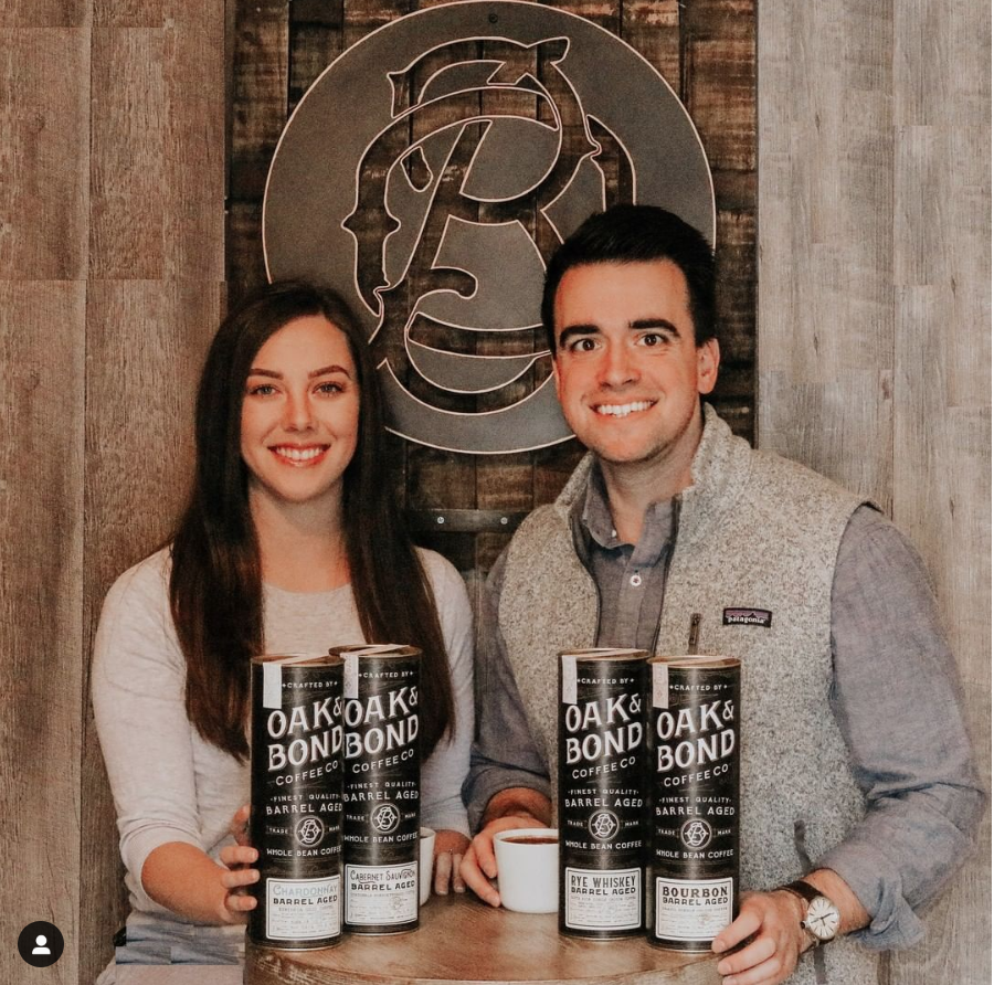 Lauren and Brian McCullen, founders and owners of Oak&Bond Coffee Co.