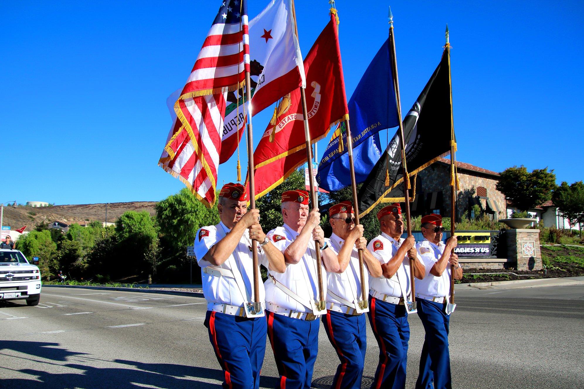 2018   Simi Valley Days  Color Guard leading parade.  Color Guard Commander - Ruy Pena, Jr.
