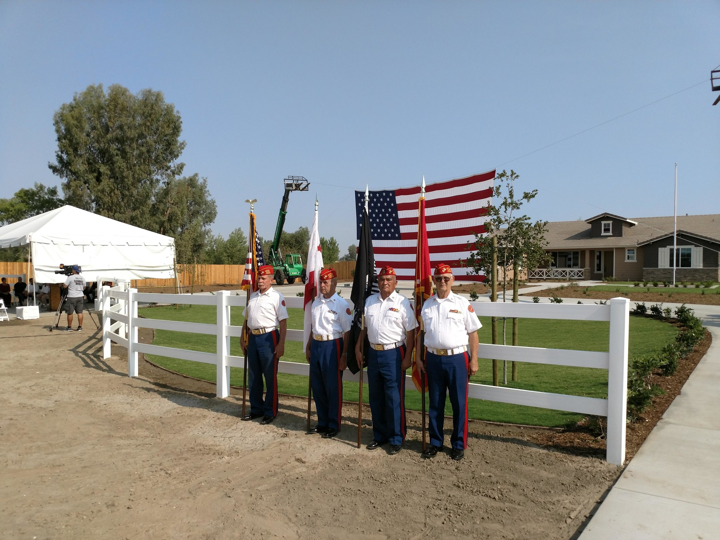 """July 26, 2018   Color Guard at the dedication of a """"smart"""" house built by the Gary Sinise Foundation for Marine Corporal Joshua Brubaker in Bakersfield.  Our Guard was personally invited by the Foundation. Participants are:  L/R: Larry Fischer, John Coley, Fausto Galvan and Ben Pfister."""