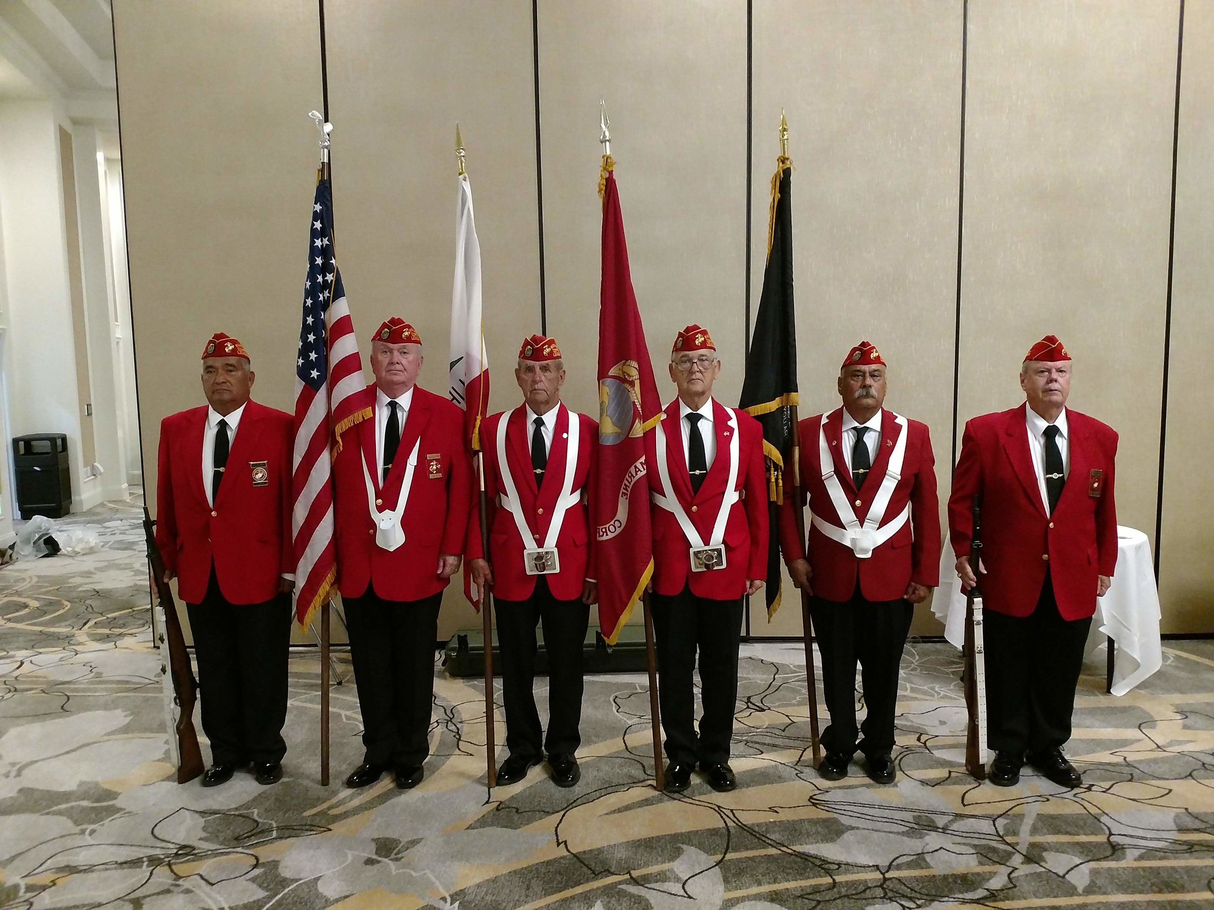 October 3, 2018   Detachment Color Guard presenting Colors at the closing banquet ceremony of the Los Angeles County Veterans Administration Fall Conference.  L/R: Fausto Galvan, Dick Jennings, John Coley, Ben Pfister, Harry Hodges, and David Opfer.