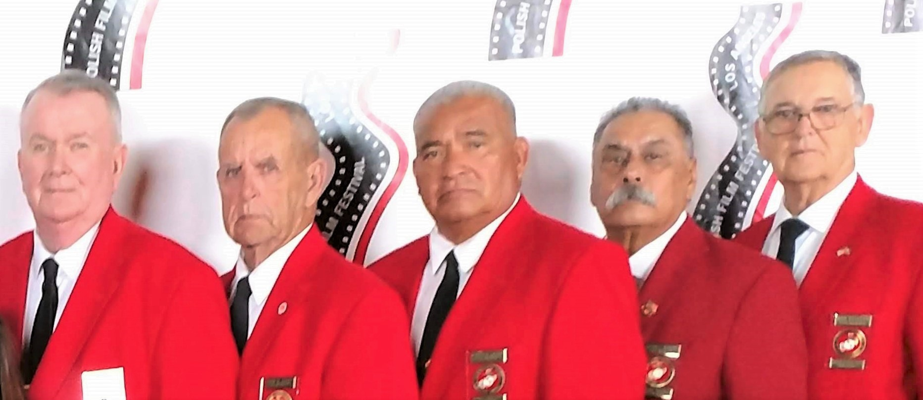 October 17, 2018   Color Guard at the Annual Polish Film Festival in Hollywood.  L/R: Dick Jennings, John Coley, Fausto Galvan, Harry Hodges, and Ben Pfister.