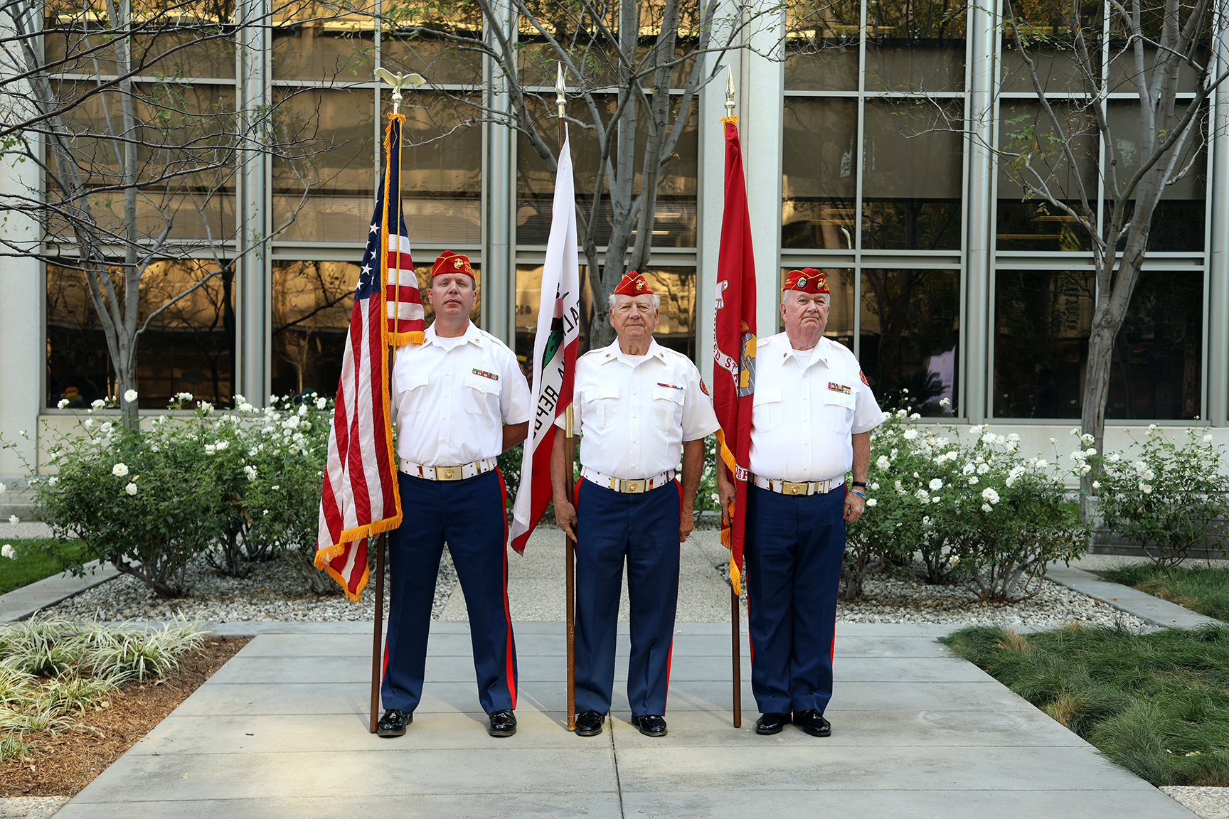 """November 20, 2018   Color Guard presented Colors at Farmers Insurance in Woodland Hills.  Farmers was the lead with other companies in retoring """"total"""" cars and giving them to Veterans.  L/R: Brent Kast, Jack Parfitt and Dick Jennings."""