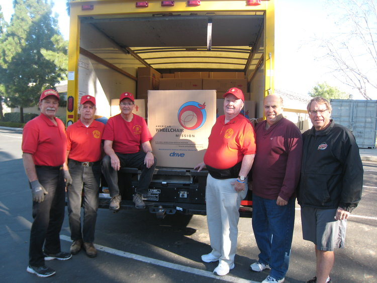 "2018   Receiving wheelchairs for the VA Hospitals in Los Angeles.  L/R: Larry Fischer, John Coley, ""Doc"" Honaker and Dick Jennings Along with Representatives of the Knights of Columbus, Mike Ohler and Grand Knight, Dave Gressman of Moorpark."
