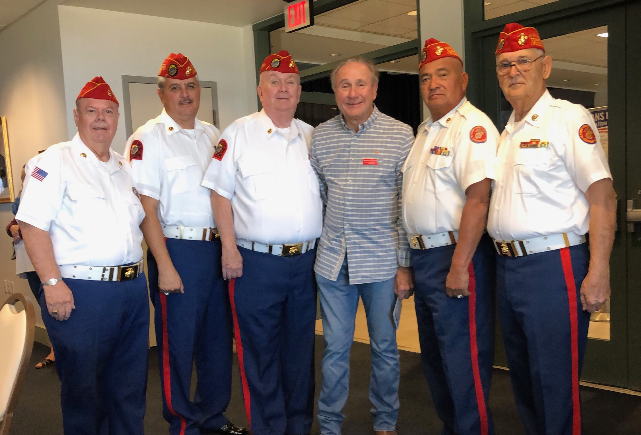 November 11, 2018   Color Guard presented colors at the Reagan Library on Veterans Day. Here with President Reagan's son, Michael.  L/R: Dave Opfer, Color Guard Commander Ruy Pena, Jr., Dick Jennings, Michael Reagan, Fausto Galvan and Ben Pfister.