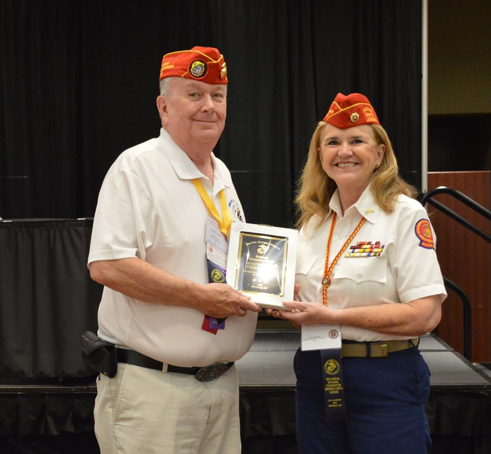 "August 12, 2018   Commandant Dick Jennings Receives 3rd Place Award for the ""Gipper"" at the MCL National Convention in Buffalo, NY, This Past August, 2018."