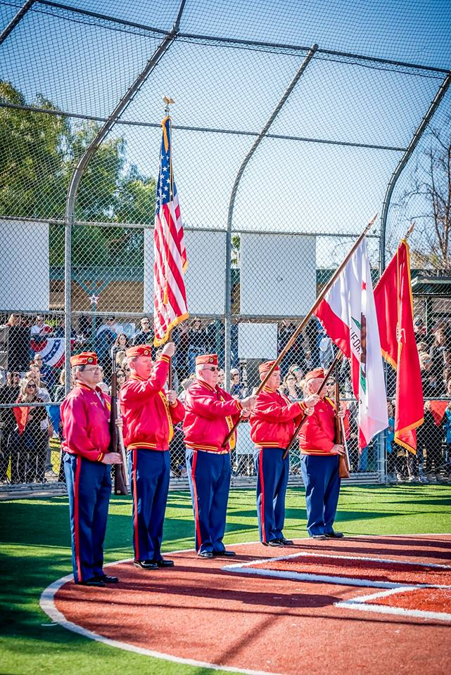 """February 23, 2019   Detachment Color Guard presenting Colors at the Opening Ceremony for the Simi Youth Baseball League.  L/R: Ken """"Doc"""" Honaker, Brent Kast, Dick Jennings, Ben Pfister and Dave Opfer."""