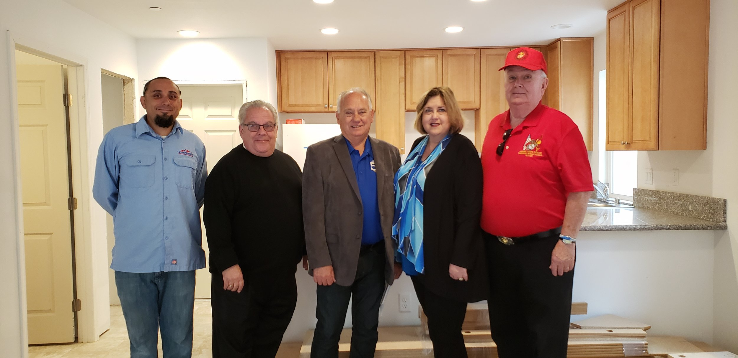 April 29, 2019   Commandant Dick Jennings on His Visit to the Homes4Families Disabled Veteran Housing Site in Santa Clarita.  L/R: Braily Franco, General Superintendent.  Hunt Braly, Chairman, Board of Directors Home4Families  Keith Mashburn, Simi Valley Mayor, checking out possible housing for Simi Valley.  Donna Deutchman, President/CEO Homes4Families.  Dick Jennings, Commandant.
