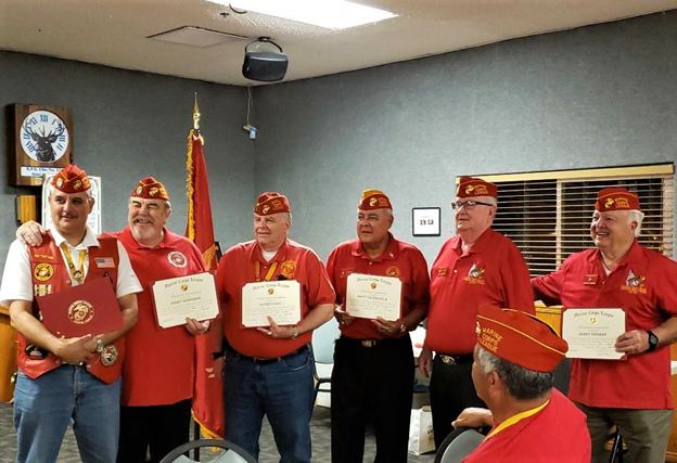 May 2, 2019   Our Detachment honored all Past Commandants of the then Ventura County Detachment 597 and the now President Ronald Reagan Detachment 597. Each Past Commandant, whether in attendance or not, received a Meritorious Commendation, Past Commandant Ribbon, and a Past Commandant Lapel Pin.  L/R: Ruy Pena Jr. - 2007 - 2010  Jerry Anderson - 2010 - 2012  Glenn Fiery - 2013  Matt Valenzuela - 2013 - 2017  Dick Jennings - 2018 - 2020  Jerry German - 2017 - 2018    Not in attendance:  Paul Mole - 1984 - 1991 & 1997 - 2002  Meade Phillips - 1991 - 1995  Mike Sweeney - 1995 -1997  Jim Britton - 2002 - 2003  Mark Shuster - 2003 -2007 & 2012 - 2013