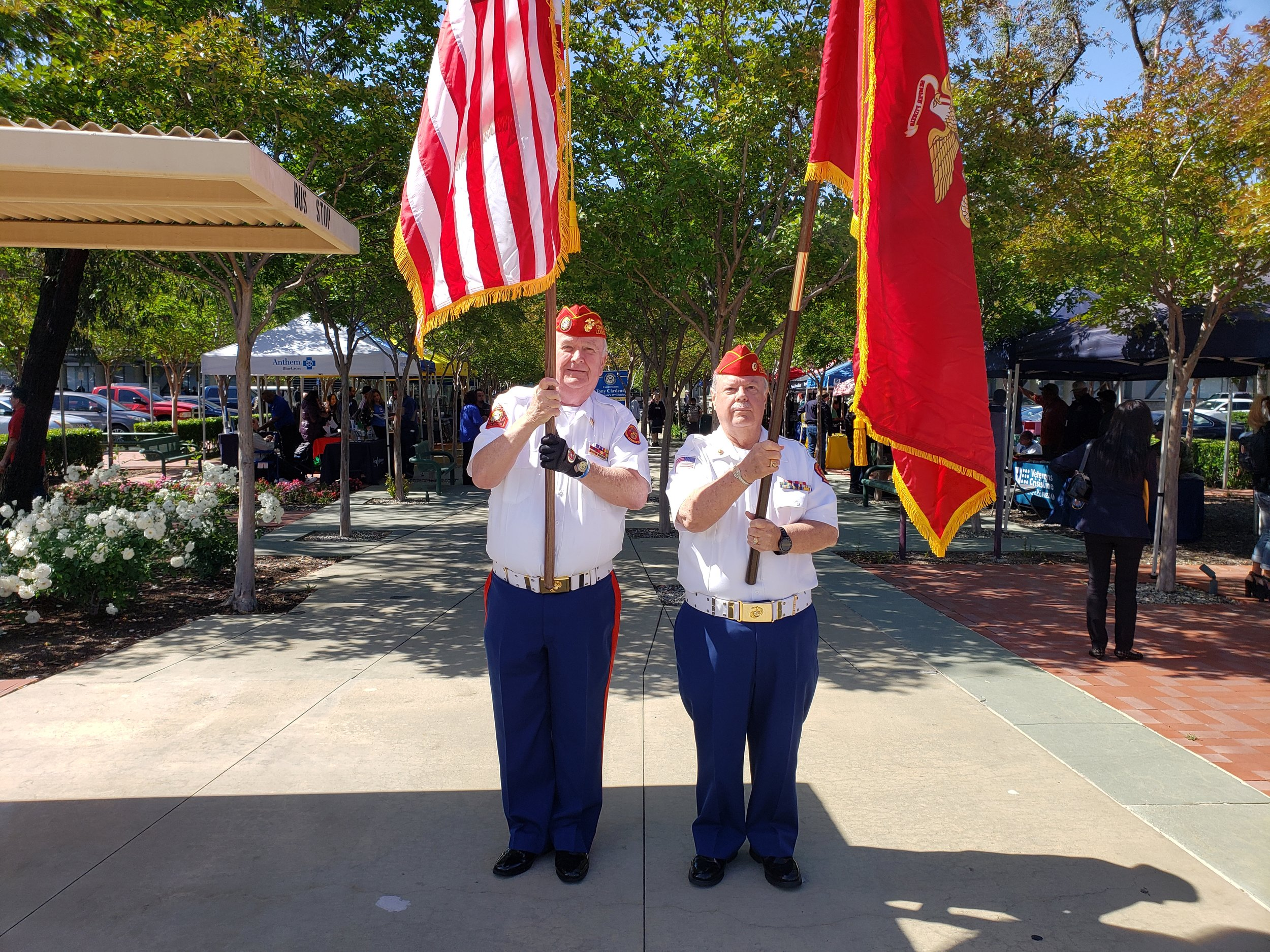 May 17, 2019   Commandant Jennings and Associate of the Year,Dave Opfer, present colors at the VA Sepulveda for Job Day.