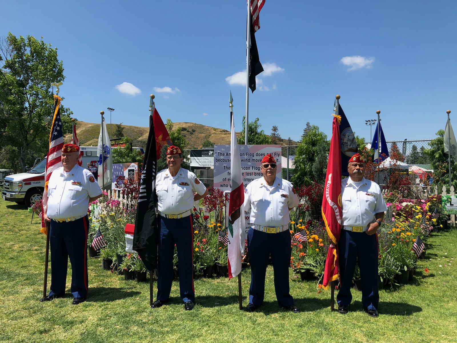 """May 25, 2019   Detachment 597 Color Guard presenting Colors at the 30th Cajun & Blues Music Festival.  L/R: Dick Jennings, Ken """"Doc"""" Honaker, Dave Opfer and Harry Hodges."""