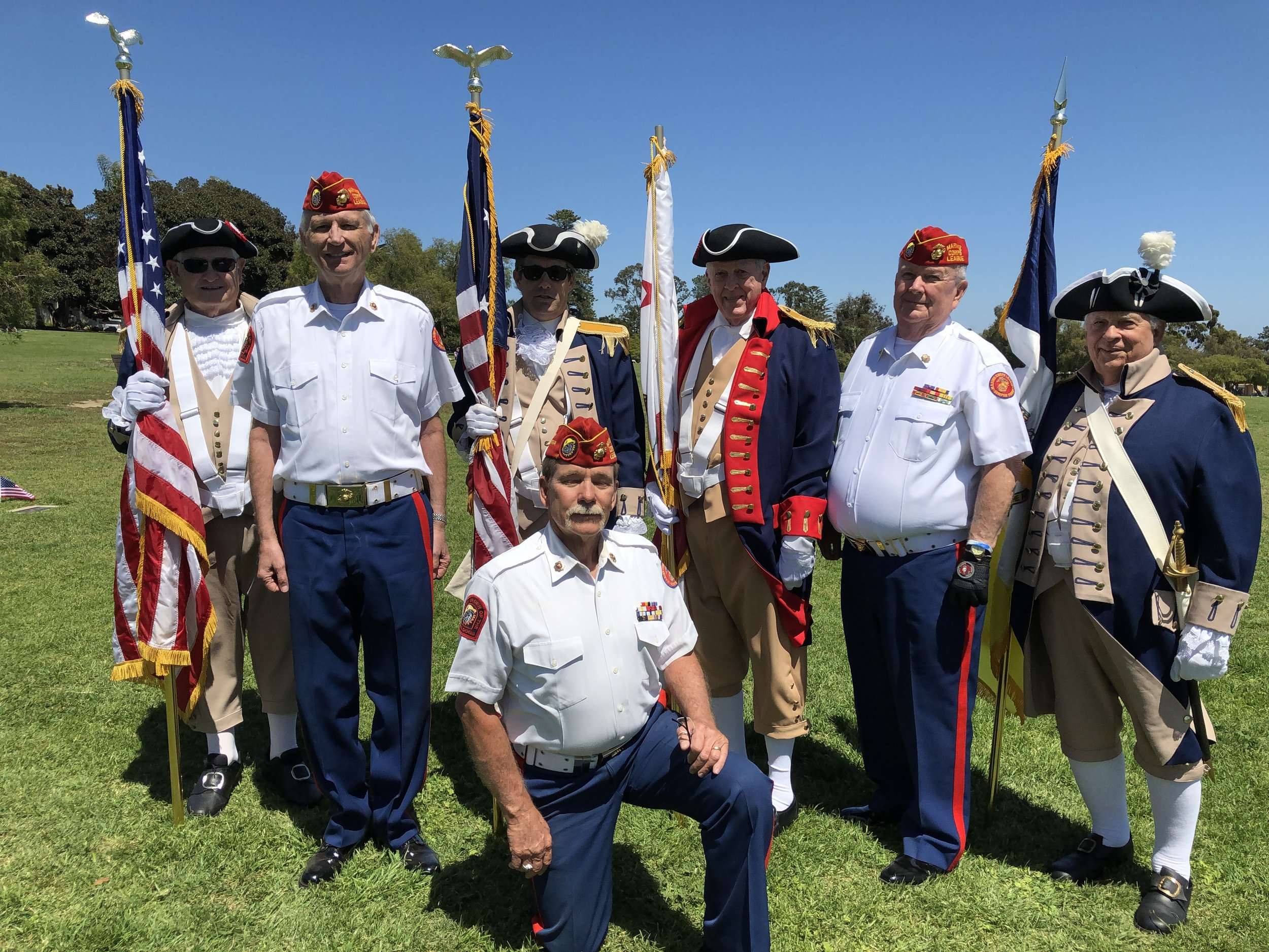 May 27, 2019   Detachment Rifle Squad with the Revolutionary Guard at St. Mary's Cemetery at their Memorial Day Remembrance.  Detachment Members L/R:  John Miller, Larry Fischer (kneeling), and Dick Jennings.  Not pictured is Bob Martinez, our Detachment Bugler.