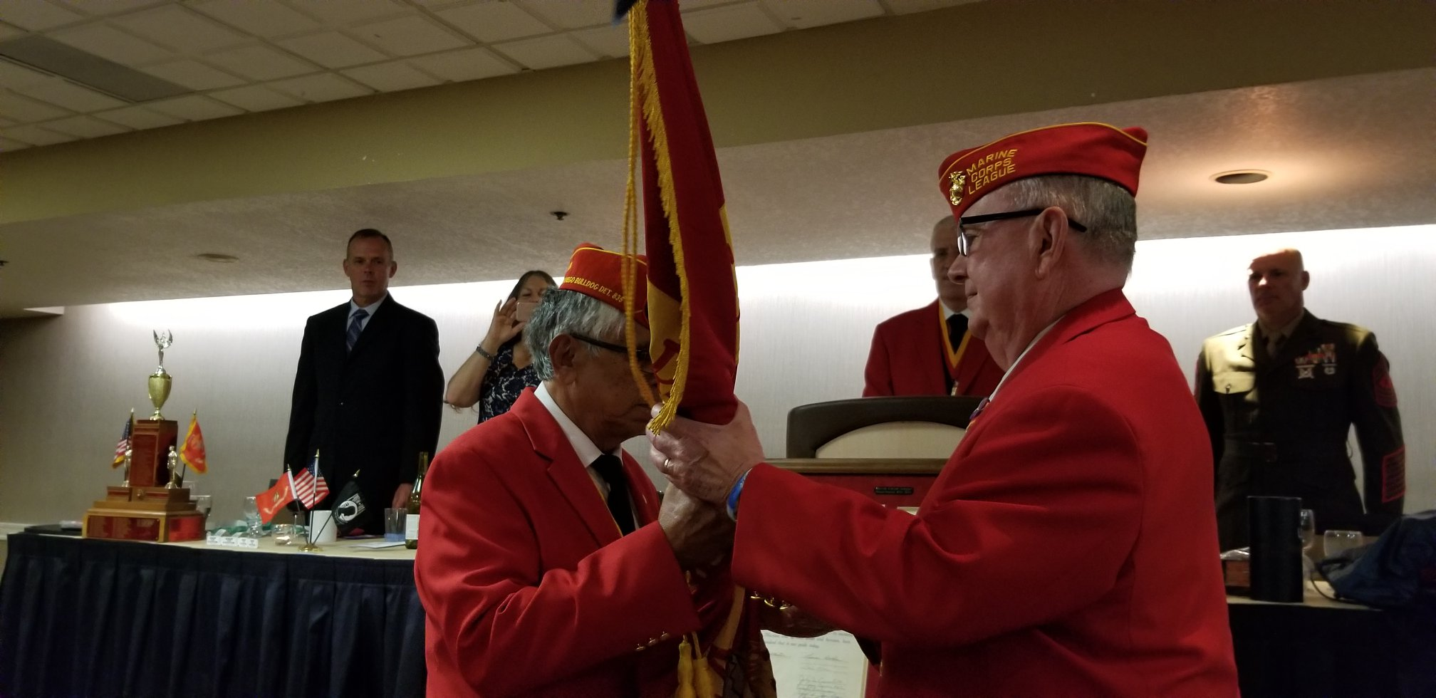 June 8, 2019   Change of Command Ceremony at the Marine Corps League Department of California 87th State Convention in San Diego on the 8th of June. On the left is outgoing State Commandant Ray Valenzuela and on the right is incoming State Commandant from Simi Valley, Dick Jennings