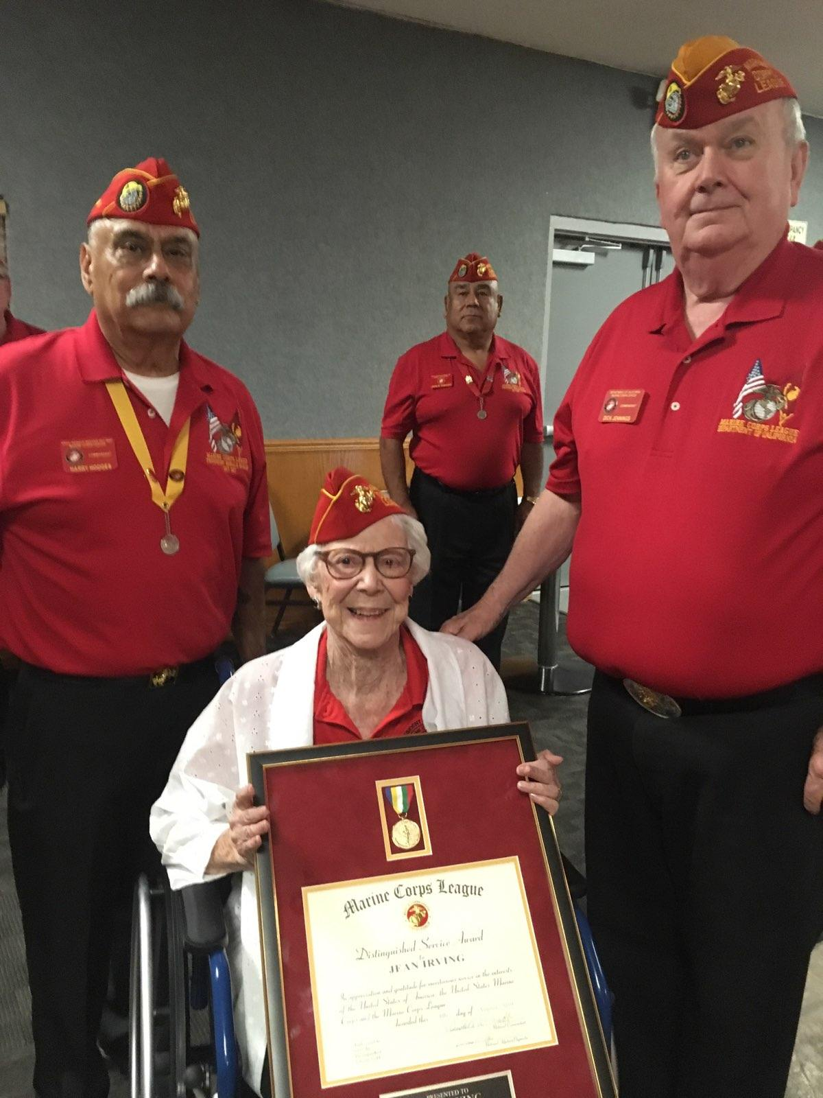 """August 6, 2019   Commandant Harry Hodges and Department of California Commandant Dick Jennings present to Marine Jean Irving the Marine Corps Leagues highest award """"Distinguished Citizen Award"""" at the September General Meeting. This award was presented to Commandant Jennings, who was accepting for Miss Jean at the MCL National Convention in Billings, Montana."""