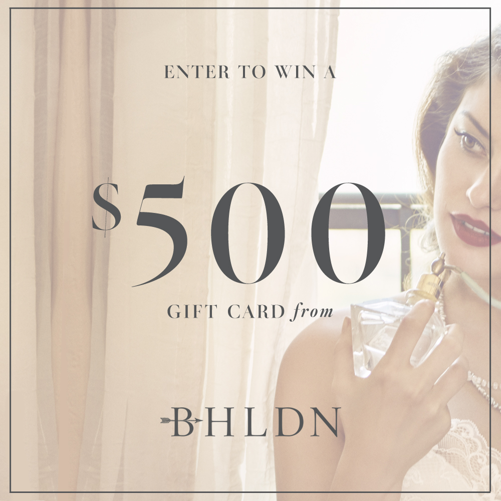 NOTE: this is not a giveaway, only an example of a graphic to use in an Instagram giveaway ... I don't not have a $500 gift card to BHLDN to give you ;)