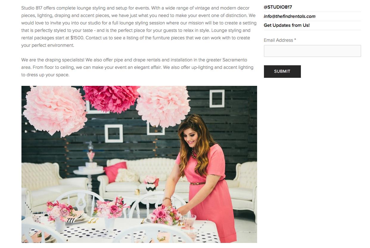 Wedding Venue Website Design by Heather Sharpe of The Editor's Touch | Studio 817 in Sacramento