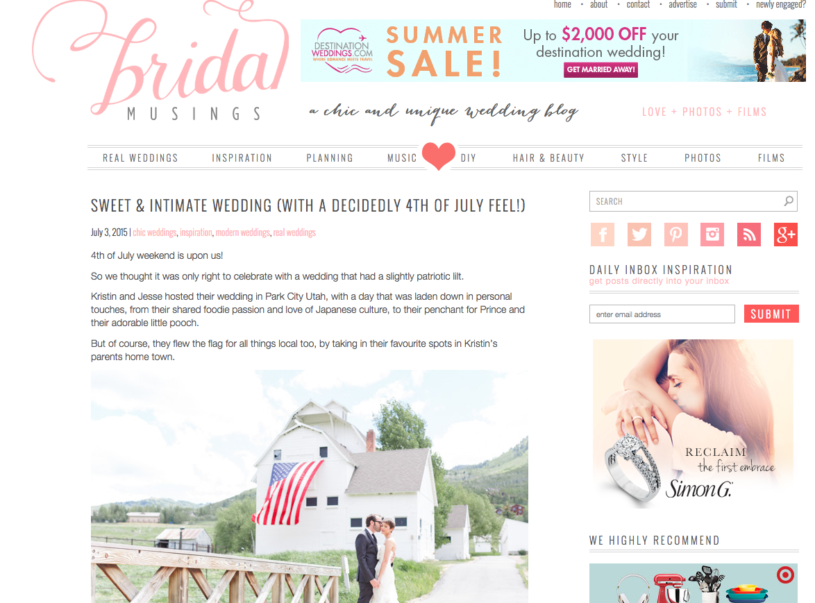 Sweet and Intimate Wedding on Bridal Musings